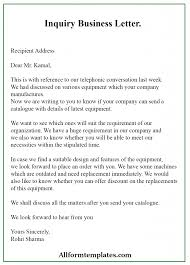 Free Formal Letter Template Free Sample Inquiry Business Letter Template With Example