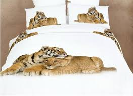 heart warming lion and tiger print 4 piece bedding sets duvet cover sets