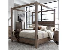 Liberty Furniture Sonoma Road Contemporary Queen Canopy Bed with ...