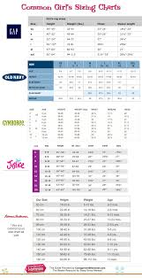 Old Navy Shoe Size Chart Toddler Girls Clothing Size Charts Common Kids Clothing Size And