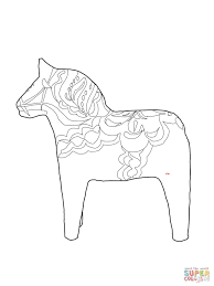 Swedish Dala Horse Coloring Page Coloring Home