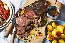 roasted beef with mustard potatoes