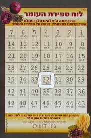 Chart For Counting The Omer Magnetic Sfirat Haomer Charts