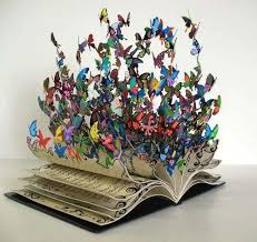 3d book with multi colored erflies ing out from the pages artist unknown