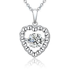 2019 new fashion heart 925 sterling silver dancing diamond pendant necklace for women jewelry whole with created diamond cz np88030a from