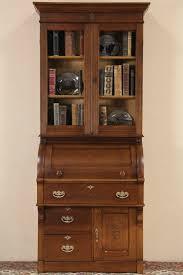 victorian eastlake 1885 antique oak cylinder roll top secretary desk bookcase