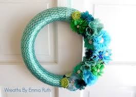Ribbon Wreath Funky Chevron Blue and Green Tone wrapped wreath with lots of  flower embellishments