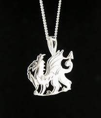 sterling silver welsh dragon pendant chain