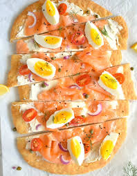 Egg and smoked salmon open faced breakfast sandwich recipe. Smoked Salmon Breakfast Flatbread Herbs Flour