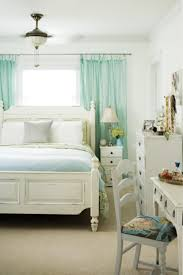 bedroom curtains behind bed. White And Aqua Bedroom, Curtains Framing Window Behind Bed Bedroom