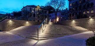 footbridge in décines pedestrian walkway with wall projectors 4240 havre and linear handrails caluire saint clair