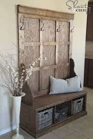 Bench With Storage And Coat Rack Custom Wooden Entryway Storage Bench With Back Decorative Flower Coat