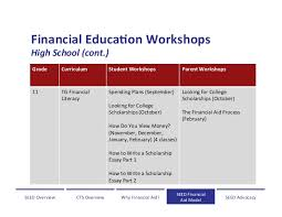 financial aid and financial literacy training for students and famili  financial