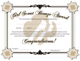 Award Certificate Girl Scout Bronze Award Certificate Printable Google Search 7