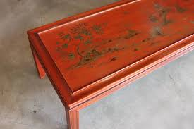 wonderful mid century modern red lacquer wood coffee or cocktail table with original metal tag