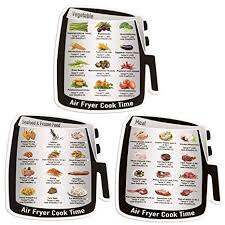 3 Pack Air Frying Cook Time Chart Guide Recipes Air Fryer Magnetic Cheat Sheet Cookbook Cooking Reference Guide Magnet Set With 36 Common Food