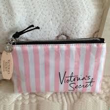 victoria s pink white stripe makeup cosmetic bag vs purse evening handbag 2