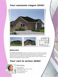 real estate flyer template pink