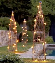 outdoor lighting idea. Unique Gold Metal Outdoor Lighting Ideas For Exclusive Garden With Small Swimming Pool Idea