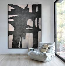 extra large abstract painting horizontal acrylic painting large wall art black white and pink