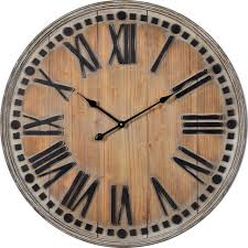linden clock natural wooden finish with rubbed white highlights