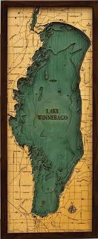 Lake Conroe Nautical Chart Lake Winnebago 3 D Nautical Wood Chart 13 5 X 31 Great