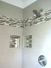 showers shower accent tile ideas bathroom linen with glass linear mosaics to the space narrower