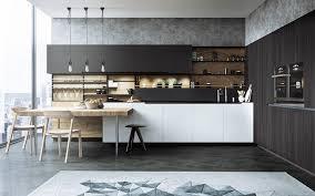 dark bamboo cabinets wooden extend countertop 3 bar stools 3 black pendant lights floating open shelves white island gray geometric kitchen rug