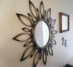 superb mirror wall decoration with round wall mirror and sunburst wall mirror decor and flower shaped