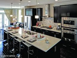 One Wall Kitchen Contemporary Kitchen With Breakfast Bar Complex Marble Counters