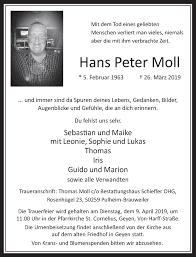 Traueranzeigen von Hans Peter Moll   WirTrauern