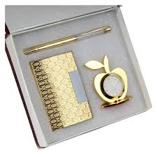 far vision 3 in 1 corporate gift set of golden apple clock with crystal pen and business card holder with premium packaging