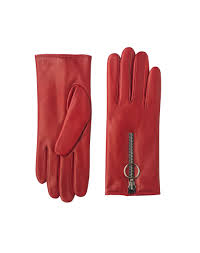 las accessories zip front leather gloves in red from me em