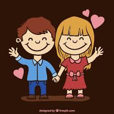 lovely cartoon love couple free vector