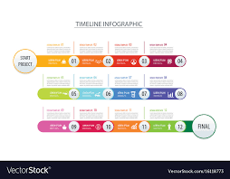 Year Timeline Infographic Timeline 1 Year Template Business Vector Image