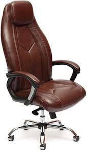 <b>Кресло Tetchair BOSS</b> люкс (<b>хром</b>) (кож/зам, коричневый ...