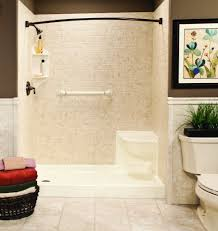 white swanstone shower pan matched with white tile wall and dark shower curtain rod for shower