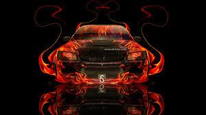 mitsubishi lancer evolution 8 jdm fire abstract car