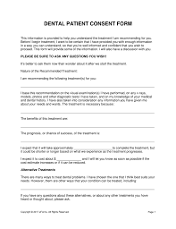 Dental Consent Form Free Dental Patient Consent Form Word PDF eForms Free 1