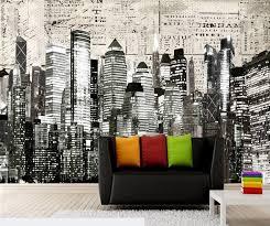 custom black and white retro wallpaper new york city 3d wallpaper murals for the