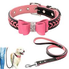 details about pink bling braided leather dog collars and leads leash for small large dogs xs l