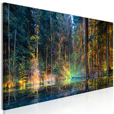 canvas painting pond in the forest 1 part narrow forest landscapes canvas prints