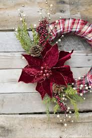 plaid and poinsettia wreath
