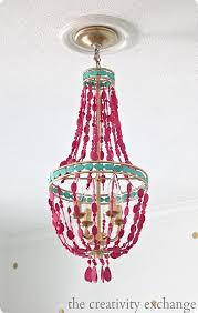 hot pink painted bead chandelier hot pink chandelier