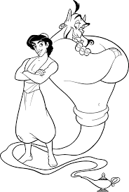 Aladdin And Genie Relaxed Coloring Pages