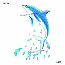 Us 04 35 Offhxman Dolphin Temporary Tattoo Sticker Waterproof Women Body Art Tatoo Animal Hand Tattoos Paper 98x6cm A 271 In Temporary Tattoos