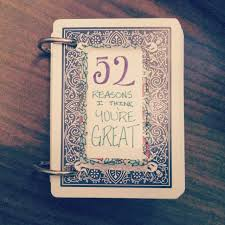 a handmade book titled 52 reasons why i think you re great