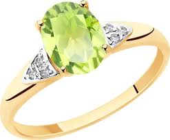 <b>Кольцо</b> Diamant, золото 585, фианит, <b>хризолит</b>, 16,5, 51-310 ...
