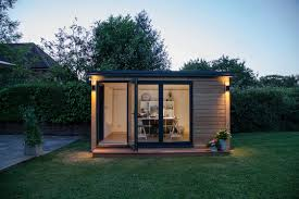 outdoor garden office. pod lighting outdoor garden office