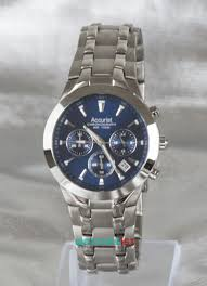 gents accurist chronograph bracelet blue faced watch mb960n mens chrono blue accurist front on view